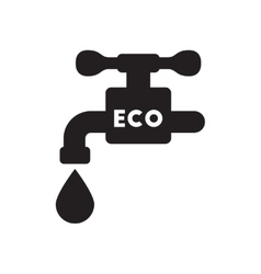 Flat icon in black and white water faucet vector