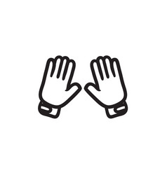 Motorcycle gloves sketch icon vector