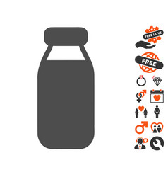 Bottle icon with dating bonus vector