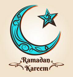 Moon and star ramadan kareem emblem vector
