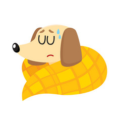 Sick baby badger dog having flu fever sleeping vector