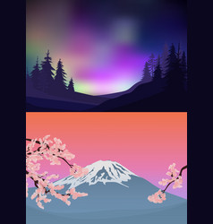 Colorful nature landscape templates vector