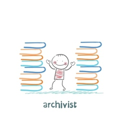 Archivist standing near piles of books vector