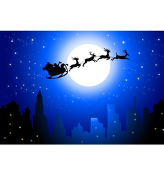 Santa sleigh on city in christmas night- vector