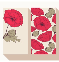 Business card set with hand drawn poppy flowers vector