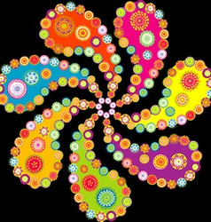 Colorful paisley spiral over black background vector