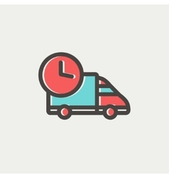 On time delivery thin line icon vector