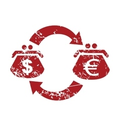 Dollar-euro red grunge icon vector