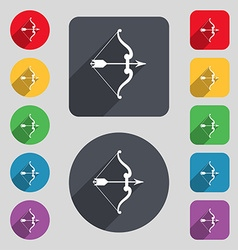 Bow and arrow icon sign a set of 12 colored vector