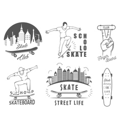 Set retro skateboarding logo and badge vector
