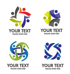 People community logo set vector