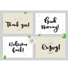 Greeting cards set with calligraphy hand drawn vector
