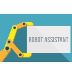 Robot hand holding blank sign with space for text vector