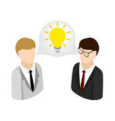 Two businessmen get idea icon isometric 3d style vector