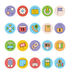 Business and office colored icons 10 vector