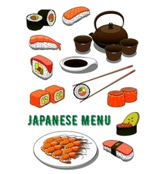 Japanese sushi grilled prawns soy sauce and tea vector