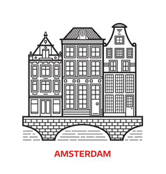 Amsterdam landmark icon vector