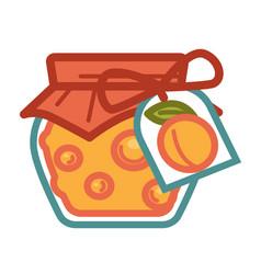 Apricot jam in jar vector