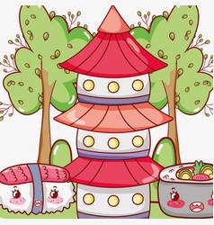 asian food cute kawaii cartoon vector image