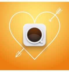 Background cup of coffee and heart with arrow vector