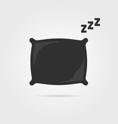 black pillow with sleep zzz icon vector image vector image