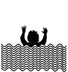 Boy in water silhouette vector