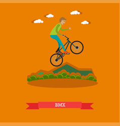 boy riding bmx bike in flat vector image vector image