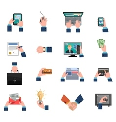 Business Hands Icons Flat Set vector image