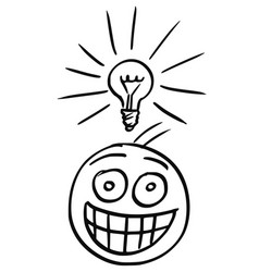 cartoon of man with light bulb above his head who vector image