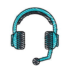 color crayon stripe cartoon headphones with vector image