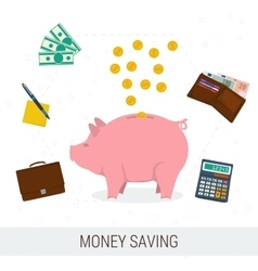 Concept money saving flat vector image vector image