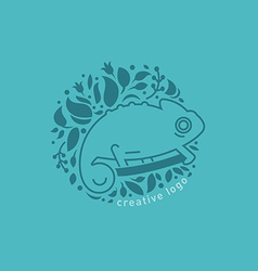 Creative emblem in a linear style the chameleon vector