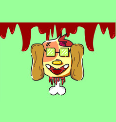 dead bloody dog vector image vector image