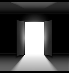 Double open door with light on black empty vector