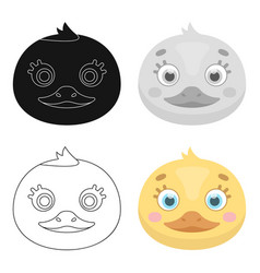Duck muzzle icon in cartoon style isolated on vector