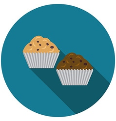 Flat design muffins icon with long shadow isolated vector image vector image