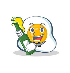 Fried egg character cartoon with beer vector