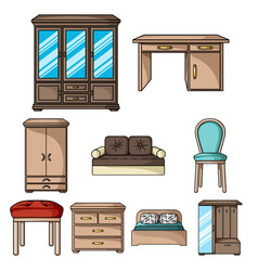 furniture and home interior set icons in cartoon vector image