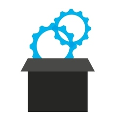 Gears in box isolated icon design vector