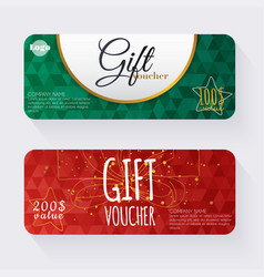 Gift voucher template with gold gift box gift vector