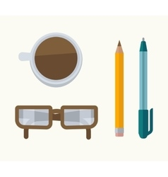 Glasses coffee pen and pencil vector
