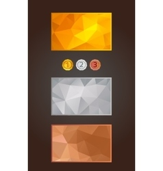 Gold silver and bronze cards and medals set in vector