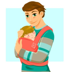 man and baby vector image vector image