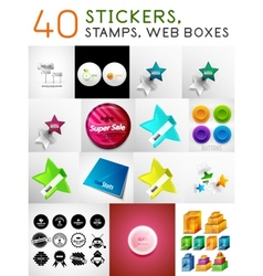 Mega set of stickers stamps and web boxes vector image