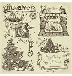 Merry christmas design elements vector image