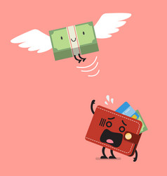 Money bill flying out of wallet character vector