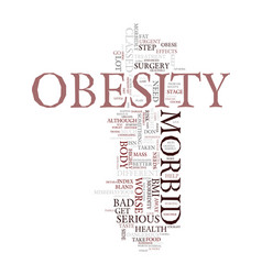 Morbid obesity details text background word cloud vector