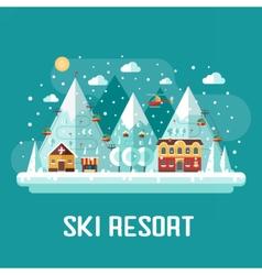 Mountains ski resort landscape vector