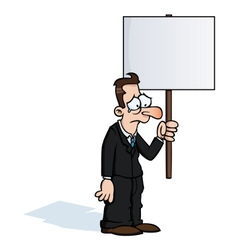Sad business man with protest sign vector image vector image