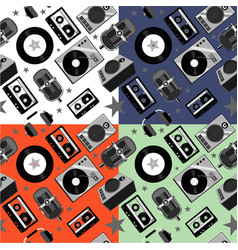 Seamless music pattern with audio equipment vector
